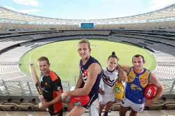SUN-1404148 © WestPix Photograph to mark the opening of Optus Stadium. Pictured -  Adam Voges (Perth Scorchers), Nathan Fyfe (Fremantle Dockers), Kara Donnellan (AFLW Fremantle Dockers) and Shannon Hurn (West Coast Eagles). Picture: Daniel Wilkins