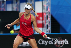 SUN-1404164 © WestPix Hopman Cup final at Perth Arena. Between Switzerland and Germany. Pictured - ANGELIQUE KERBER( Team Germany ) Picture: Daniel Wilkins