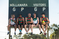 SUN-1404230 © WestPix Former AFL players (from left) Garth Taylor, David Wirrpanda, Kevin Caton, Des Headland & Jarrad Oakley-Nicholls, who are playing for Nollamara FC in WA Amateur Football League C-grade this year. Pictured at Des Penman Reserve in Nollamara, Perth. Picture: Ross Swanborough. 25 January 2018