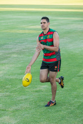 SUN-1404233 © WestPix Former AFL player Jarrad Oakley-Nicholls pictured at Des Penman Reserve in Nollamara, Perth. Picture: Ross Swanborough. 25 January 2018