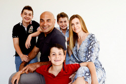 SUN-1404251 © WestPix STM Top 100. UK Soccer agent Frank Trimboli pictured with his family: Sam Trimboli, 13,  Archie Trimboli, 9, Rory Trimboli, 11, and wife Lindsay Trimboli. Picture: Richard Hatherly