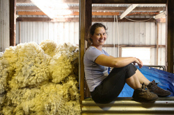 SUN-1404393 © WestPix Scenes in a shearing shed in Witchcliffe, just past Margaret River. Pictured - Jessica Charles from France. Picture: Daniel Wilkins