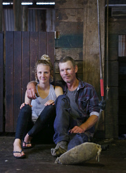SUN-1404394 © WestPix Scenes in a shearing shed in Witchcliffe, just past Margaret River. Pictured - Adrian Barker (aka Nudge) with daughter Hayley Barker (17). Picture: Daniel Wilkins