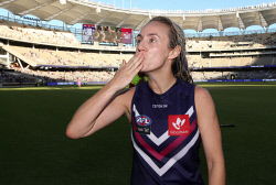 SUN-1404406 © WestPix AFLW - Fremantle Dockers vs Collingwood Magpies at Optus Stadium. Pictured - Fremantle debutant Lisa Webb celebrates the win. Picture: Daniel Wilkins