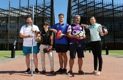 SUN-1404463 © WestPix ECU sports science researchers are helping to hone the talents of some of WA's biggest sporting clubs. Pictured are researchers Dr Greg Haff, Sophia Nimphius, Brennen Irvine, Fadi Ma'ayah and Jodie Cochrane Wilkie. Picture - Justin Benson-Cooper/The Sunday Times