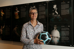 SUN-1404576 © WestPix Sports memorabilia, photos and referances to past sporting legends now adorn the walls of the new Perth Optus Stadium. Pictured is soccer star Sandra Brentall. Picture - Justin Benson-Cooper/The Sunday Times