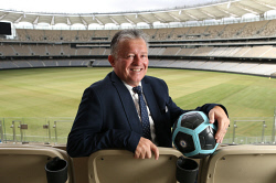 SUN-1404579 © WestPix Sports memorabilia, photos and referances to past sporting legends now adorn the walls of the new Perth Optus Stadium. Pictured is soccer star Gary Marocchi. Picture - Justin Benson-Cooper/The Sunday Times