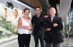 SUN-1404583 © WestPix The Sunday Times is looking at the aspects of sports memorabilia that will feature at the new Perth Stadium.  These aspects include pictures of sports stars on the walls of areas of the stadium. Pictured is former Australian cricket player Karen Read, Australian cricketer Adam Gilchrist and former WAFL player Barry Cable. Picture - Justin Benson-Cooper/The S