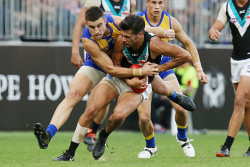 SUN-1404959 © WestPix AFL. West Coast Eagles v Port Adelaide at Optus Stadium in Perth. PIctured - Eagle Elliot Yeo and Ports Riley Bonner. Picture - Justin Benson-Cooper/ The Sunday Times
