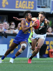 SUN-1404970 © WestPix AFL. West Coast Eagles v Port Adelaide at Optus Stadium in Perth. PIctured - Eagle Willie Rioli. Picture - Justin Benson-Cooper/ The Sunday Times