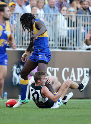 SUN-1405022 © WestPix AFL. West Coast Eagles v Port Adelaide at Optus Stadium in Perth. Pictured - Eagle Nic Naitanui and Port's Dougal Howard get into an altercation. Picture - Justin Benson-Cooper/ The Sunday Times