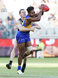 SUN-1405025 © WestPix On top of his game: Willie Rioli takes one of his five marks in a game he described as his best ever for the Eagles. Picture: Justin Benson-Cooper