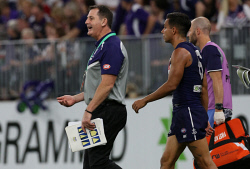 SUN-1405053 © WestPix AFL Round 8 - Fremantle Dockers vs St Kilda Saints at Optus Stadium, Perth. PIctured - Fremantle's coach Ross Lyon walks out at the first break. Picture: Daniel Wilkins
