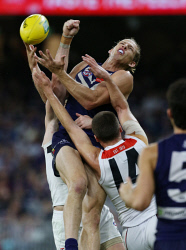SUN-1405054 © WestPix AFL Round 8 - Fremantle Dockers vs St Kilda Saints at Optus Stadium, Perth. PIctured -  Fremantle's Nathan Fyfe has his mark spoiled. Picture: Daniel Wilkins
