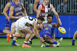 SUN-1405263 © WestPix AFL. West Coast Eagles v St Kilda at Optus Stadium in Perth. Pictured - Eagle Willie Rioli gets away the ball under pressure. Picture - Justin Benson-Cooper/ The Sunday Times