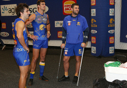 SUN-1405266 © WestPix AFL. West Coast Eagles v St Kilda at Optus Stadium in Perth. Pictured - Eagle Jack Darling stands with crutches in the change room after the game. Picture - Justin Benson-Cooper/ The Sunday Times