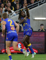 SUN-1405273 © WestPix AFL. West Coast Eagles v St Kilda at Optus Stadium in Perth. Pictured - Eagle Nic Naitanui celebrates the first goal. Picture - Justin Benson-Cooper/ The Sunday Times