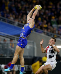 SUN-1405315 © WestPix AFL. West Coast Eagles v St Kilda at Optus Stadium in Perth. Pictured - Eagle Jake Waterman takes a mark. Picture - Justin Benson-Cooper/ The Sunday Times