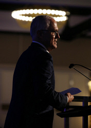 SUN-1405701 © WestPix The annual Liberal State Conferance is taking place at Crown in Perth. PIctured is Australian Prime Minister Malcolm Turnbull as he adresses the crowd. Picture - Justin Benson-Cooper / The Sunday Times. Picture - Justin Benson-Cooper / The Sunday Times