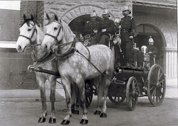 TWA-0004434 © WestPix Fire Brigade with horses harnessed with coach and attendants outside a building. Date unknown.  WAN Historical Archive