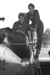 TWA-0007830 © WestPix Graduating RAAF Jet Pilots Debbie Hicks (L) and Flt. Lt. Robyn Williams at Pearce Airbase as they prepare to fly over Perth.