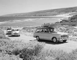 TWA-0027004 © WestPix Convoy of cars leaving Yallingup Beach. Circa 1960.  WAN Historical Archive