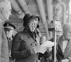 TWA-0038579 © WestPix PORTRAIT OF MISS EVANGELINE BOOTH, GENERAL OF THE SALVATION ARMY, PICTURED ADDRESSING A MEETING 12 March 1935