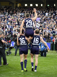 TWA-0052217 © WestPix AFL, Domain Stadium - Matthew Pavlich's last game. Fremantle Dockers v Western Bulldogs. It's all over, Matthew Pavlich says goodbye the the Fremantle fans as he finishes his last game of AFL football. Picture: Ian Munro The West Australian 28/08/2016