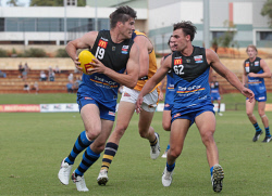 TWA-0052702 © WestPix Paul Johnson, East Perth, and Dominic Sheed, East Perth. WAFL game - East Perth v. Claremont at Medibank Stadium. 19 MARCH 2016 Picture: Danella Bevis The West Australian