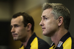 TWA-0052954 © WestPix West Coast Eagles coach Adam Simpson and captain Shannon Hurn face media ahead of Thursday's final kick-off at Domain Stadium, Perth. Picture: Simon Santi The West Australian