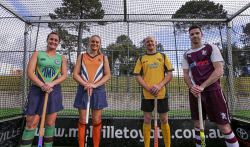 TWA-0054275 © WestPix The captains of the four teams that will compete in Saturday's Melville Toyota League Grand Finals at Perth Hockey Stadium. Left to right are Holly White, UWA, Kate Denning, Curtin Trinity Pirates, Rob Hammond, Wesley and South Perth and Tim Geers, Melville. PICTURE: NIC ELLIS    THE WEST AUSTRALIAN