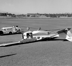 TWA-0059574 © WestPix AN OVERTURNED SIX-SEATER CESSNA 206 AIRCRAFT WHICH MADE A FORCED LANDING ON MCGILLIVRAY OVAL IN SHENTON PARK. 5 DECEMBER 1966.
