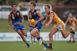 TWA-0063162 © WestPix Jarrad Oakley-Nicholls, East Perth, Luke Partington, East Perth, and Oliver Tate, Claremont. WAFL game - East Perth v. Claremont at Medibank Stadium. 19 MARCH 2016 Picture: Danella Bevis The West Australian