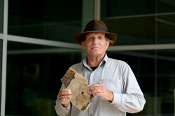 TWA-0064269 © WestPix Blaine Gibson, the US wreckage hunter, with a new piece of wreckage from MH370. Blaine is pictured with what is believed to be a piece of the cabin. Picture: Ian Munro The West Australian. 06/09/2016