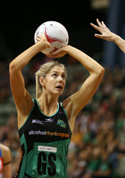 TWA-0066688 © WestPix Suncorp Super Netball at HBF Stadium, Perth. West Coast Fever vs NSW Swifts. Pictured - Fever's Kayla Stanton shoots during the first term. Picture: Daniel Wilkins