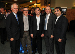 TWA-0072763 © WestPix Centurion's 40th birthday celebration, Cottosloe Surf Life Saving Club. Malcolm Turnbull, Carl Cardaci co-founder of Centurion, Philip Cardaci group executive chairman of CFC Group, Steve Irons MP federal member for Swan, Marc Cardaci CEO of CFC Group. Picture: Simon Santi / The West Australian 9th June 2011