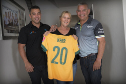 TWA-0076472 © WestPix Soccer superstar Sam Kerr's family. Brother Daniel Kerr, with mum and dad Roxanne and Roger. Picture: Simon Santi The West Australian
