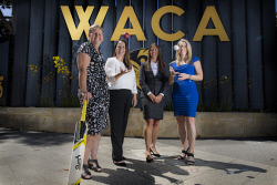 TWA-0080047 © WestPix Women in sports; WACA CEO Christina Matthews, Carla Brayn (General Manager, People and Culture),Joanna Coubrough (General Manager, Operations and Facilities), Jo Davies (General Manager, Game and Market Development). Picture: Simon Santi The West Australian
