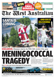 TWA-0081350 © WestPix Front page of The West Australian for the 4th December 2017