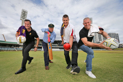 TWA-0081361 © WestPix WA sporting greats Jamie Harnwell, Graeme Wood, Glen Jakovich and Matt Fuller at the WACA ahead of the last ever Ashes test to be played at the iconic ground. 29 NOVEMBER 2017 Picture: Danella Bevis The West Australian