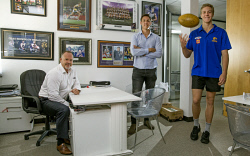 TWA-0081769 © WestPix Colin Young and Andrew McDougall from Corporate Sports Australia with new Eagles recruit and client Oscar Allen.  Picture: Steve Ferrier The West Australian.