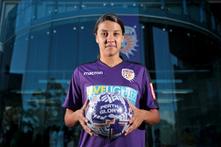 TWA-0081932 © WestPix Samantha Kerr is back home in Perth. She is pictured at Perth Glory headquarters. 25 OCTOBER 2017 Picture: Danella Bevis The West Australian