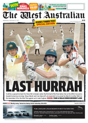 TWA-0081983 © WestPix Front page of The West Australian Ashes wraparound for the 13th December 2017