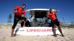 TWA-0082840 © WestPix Aussie experiences for Wildcat imports JP Tokoto & Derek Cooke on Scarborough beach. Picture: Sharon Smith The West Australian