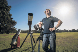 "TWA-0082920 © WestPix Astronomer Richard Tonello at Yokine Reserve today. The Gravity Discovery Centre in Gingin is hosting an event there on January 31 to coincide with the ""super blue blood moon"" - a spectacular 1 in 150 year event which it happening at the perfect time for Perth stargazers. Picture by Michael Wilson The West Australian 3rd January 2018"