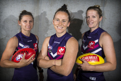 TWA-0082945 © WestPix Fremantle's AFLW side have confirmed their leadership team for 2018. Kara Donnellan (centre) will be captain again, with Kiara Bowers and Amy Lavell her deputies. Picture: Simon Santi The West Australian