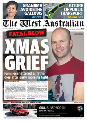 TWA-0082948 © WestPix Front page of The West Australian for the 28th December 2017.