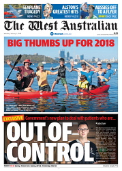 TWA-0082951 © WestPix Front page of The West Australian for the 1st January 2018.