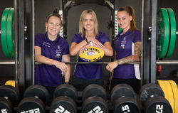 TWA-0083329 © WestPix West Coast Fever star Nat Medhurst (center) with Fremantle Dockers players Kara Donnellan and Gemma Houghton.  Nat has taken on a new role as Fremantle's AFLW player development manager. Picture: Mogens Johansen, The West Australian
