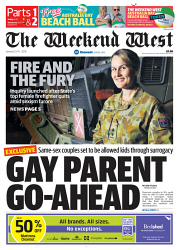 TWA-0083356 © WestPix Front page of The West Australian for the 13th January 2018
